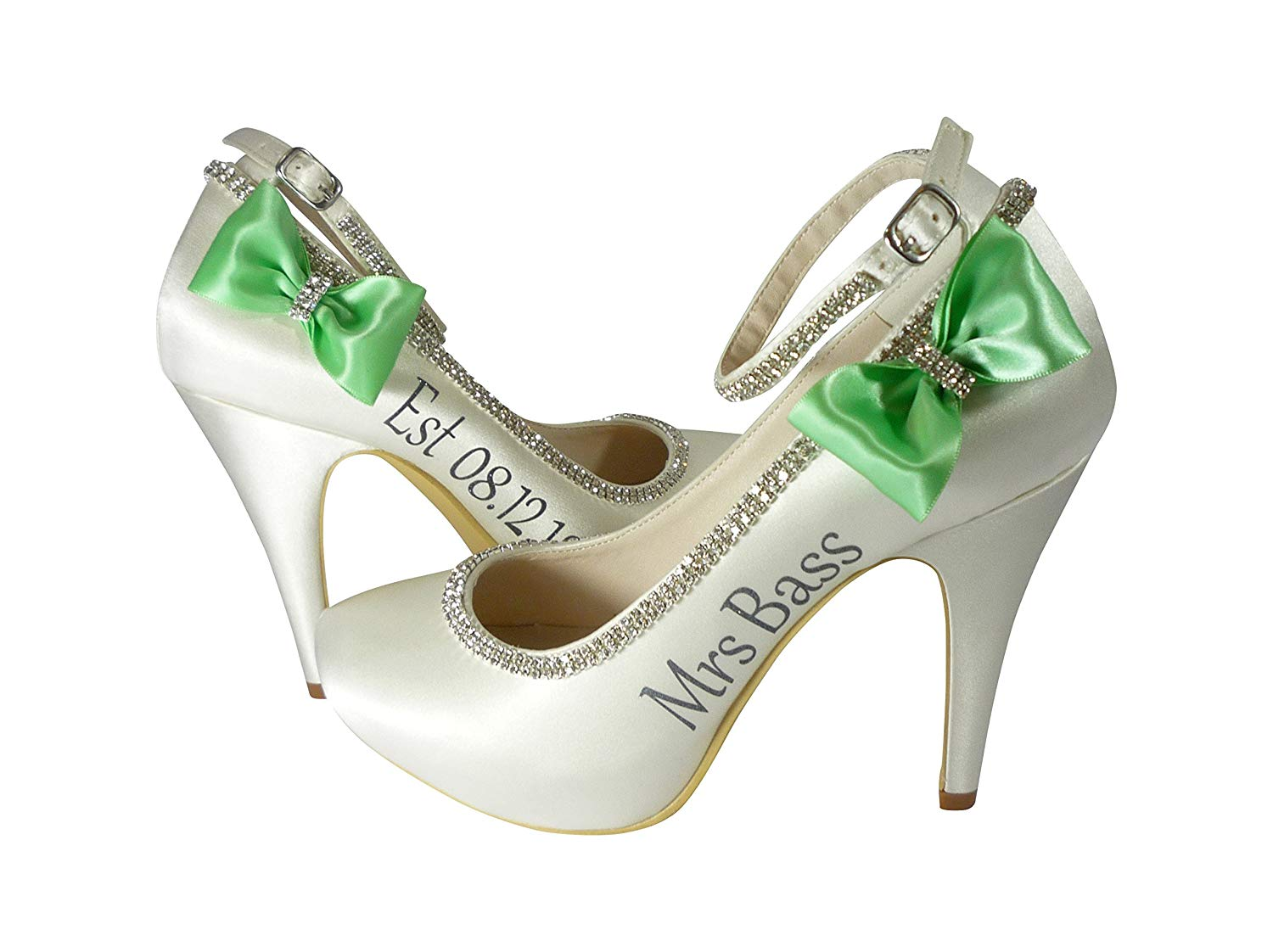 f25d568540d2bf Personalized Wedding Heels with Angle Strap
