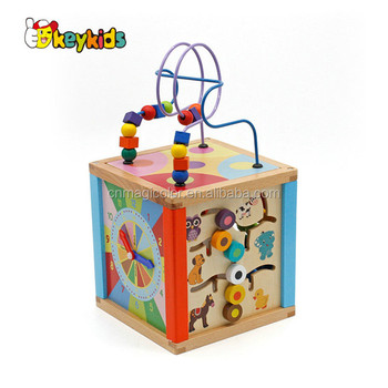 Wholesale educational baby wooden multi function activity cube toy with abacus and clock W11B171