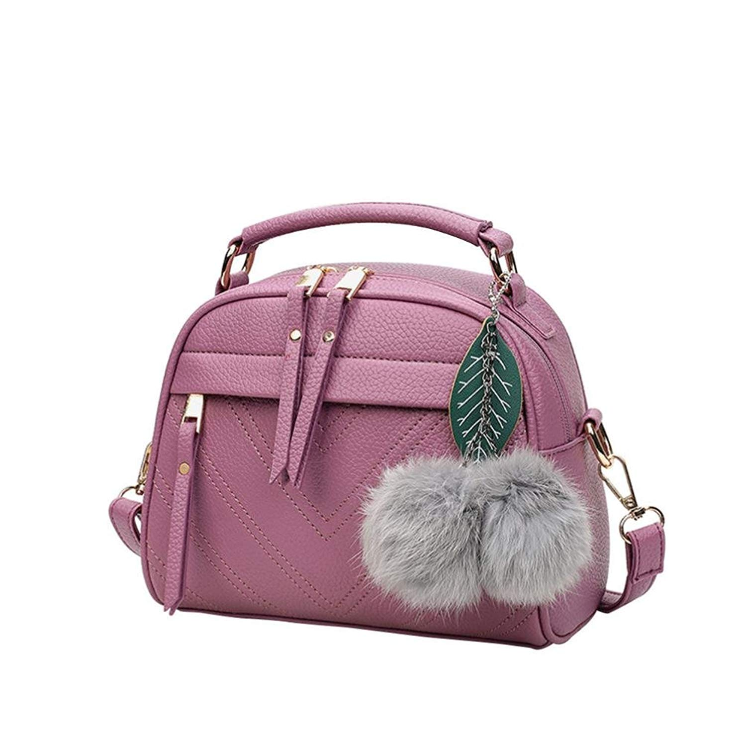 Women Fashion Handbag Ladies Satchel Totes Bag Pom Pom Ball Pendant Shoulder Bag Messenger Crossbody Bag