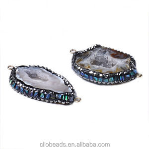 CB41392 Mosaic Style Druzy Agate Link Beads, Through Drilled, the newest design/agate stone