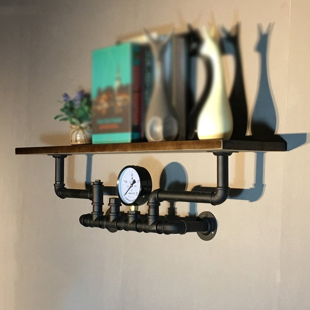 Industrial Vintage Shelf / Solid Wood Iron Hose Shelf / Living Room Bar Wall Partition Shelf / Wall Shelf / Book Shelf / Solid Wood Hose Shelf /(802020cm)