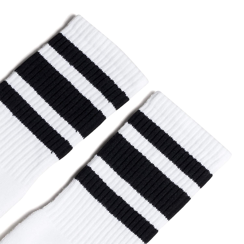 c1fb4ac81 Get Quotations · Socco Socks Unisex White Triple Striped Black Knee High  Tube Socks - Large X-