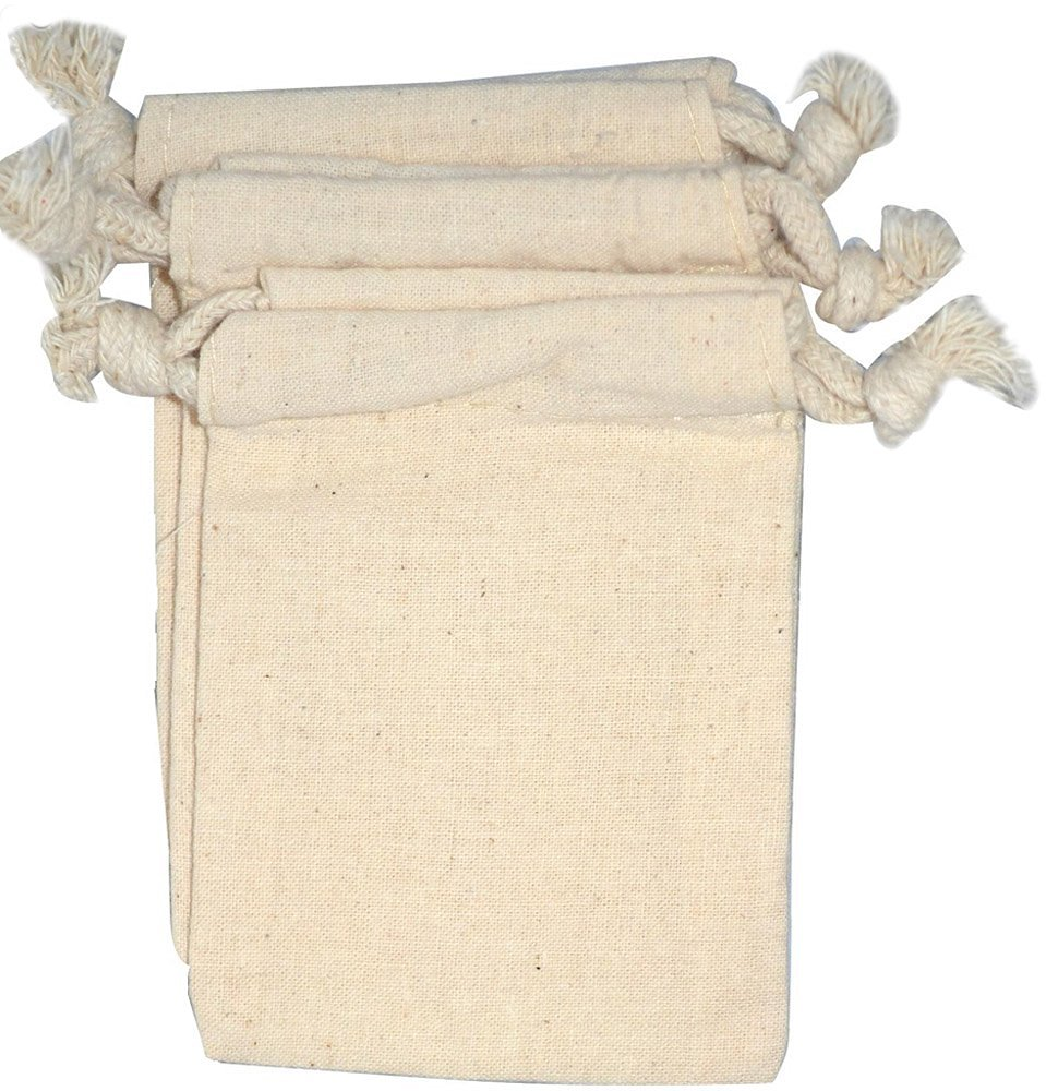 """NaturOli Soap Nuts Laundry Wash Bags (Set of 3) - (3-1/4"""" x 4-1/2"""") Muslin, unbleached, double-draw & edge-stitched. UNPRINTED! 100% natural."""