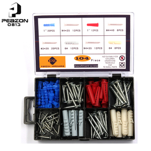 104pcs Carbon Flat Head Self Drill Wood And Plastic Screw Assorted Kit/Set By Chinese Supplier