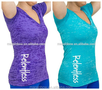 4897a91e7 Burnout Deep V neck Fitness T Shirt Womens Workout Shirts Soft 65%  Polyester 35%