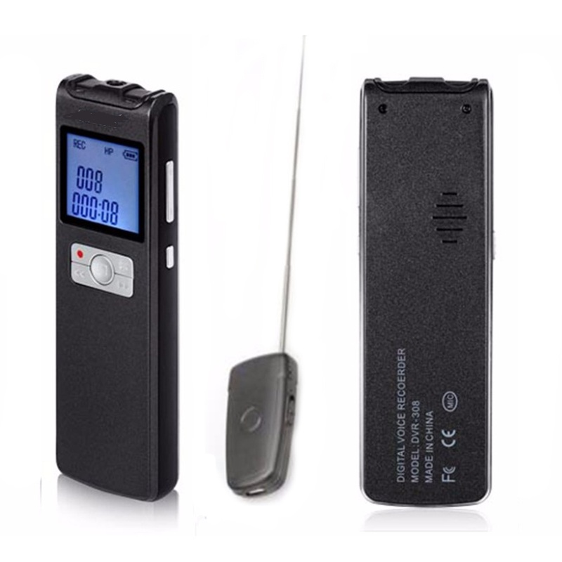 Professional VOR/AVR 8GB Portable Digital Audio Voice Recorder 350Hrs Long Time One Key Recording + Wireless Microphone