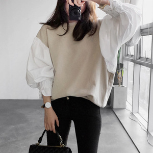 2017 autumn Fashion New Round Neck Lantern Sleeve Women's Split Joint Short Sweatshirt Japan and South Korea tops