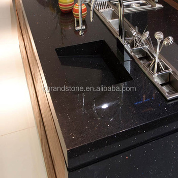 Black Sparkle Quartz Stone Tiles For Kitchen Countertop Dining Table