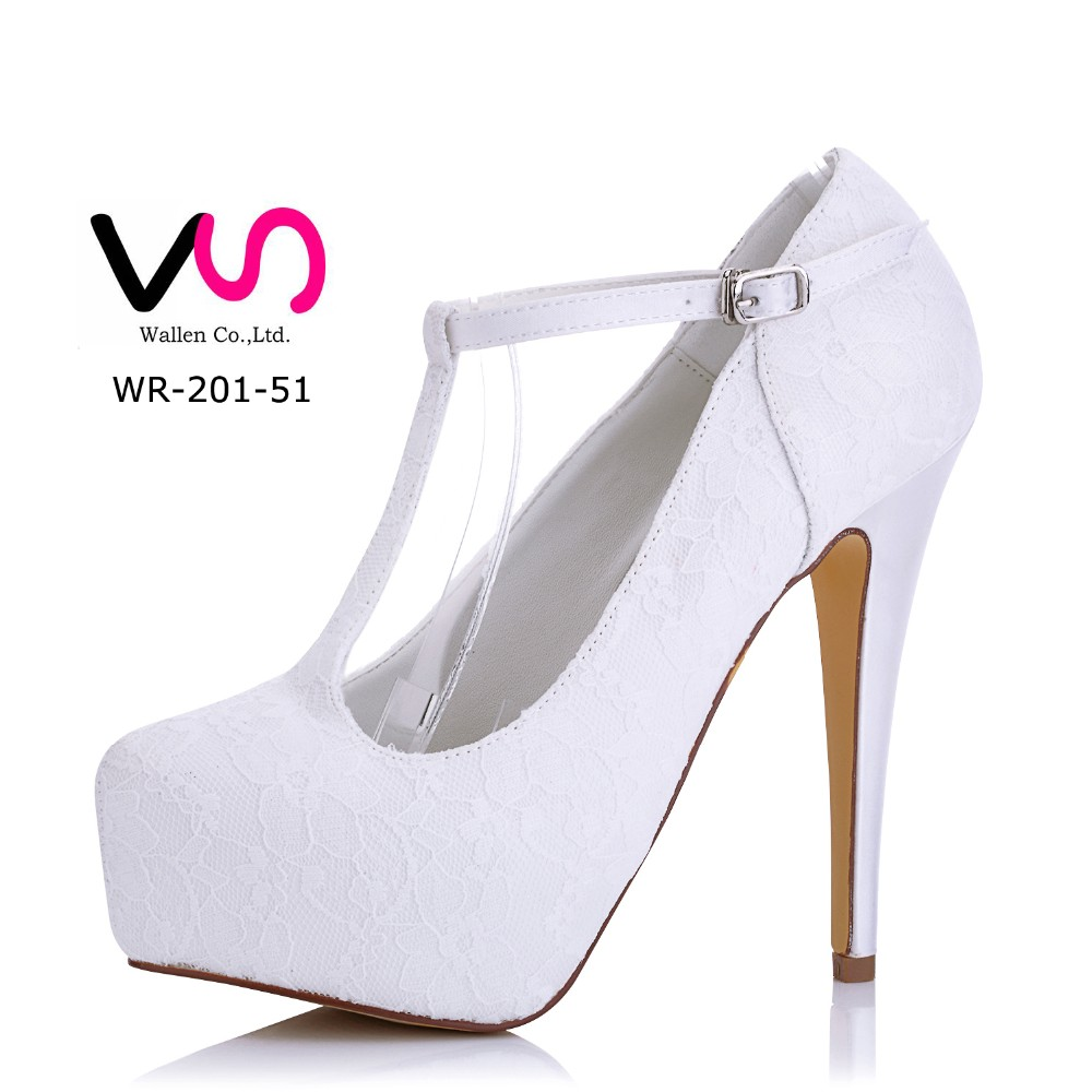 Nice Lace 13cm Heel High With Thick Platform Dyeable Satin