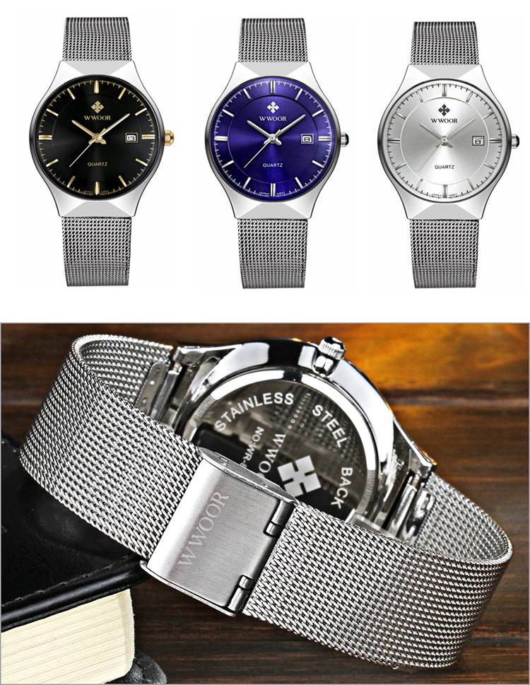 WWOOR 8016 New Top Luxury Watch Men's Watches Ultra Thin Stainless Steel Mesh Band Quartz Wristwatch Fashion casual watches