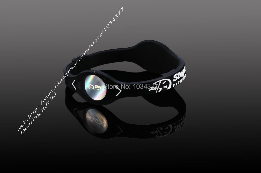 Черный силовые энергетические голограмма браслеты браслеты держите баланс ион магнитная терапия мода силиконовые полосы бесплатная доставка