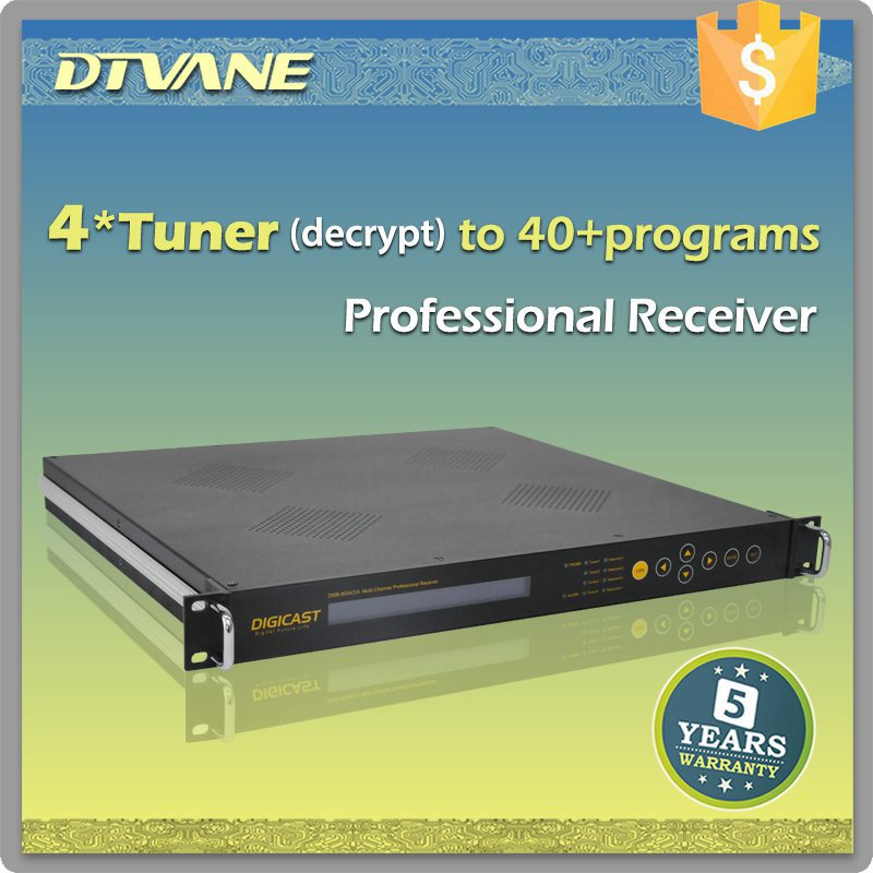 DMB-9004CI 4 Channel Professional Receiver DVB T2 Tuner ASI IP in digital ird with biss