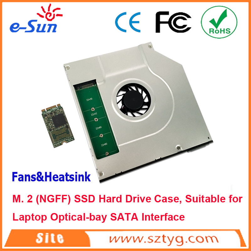 SATA M. 2 (NGFF) SSD Hard Drive Caddy/ Case with cooler fan for 9.5mm Universal Laptop CD / DVD-ROM BG