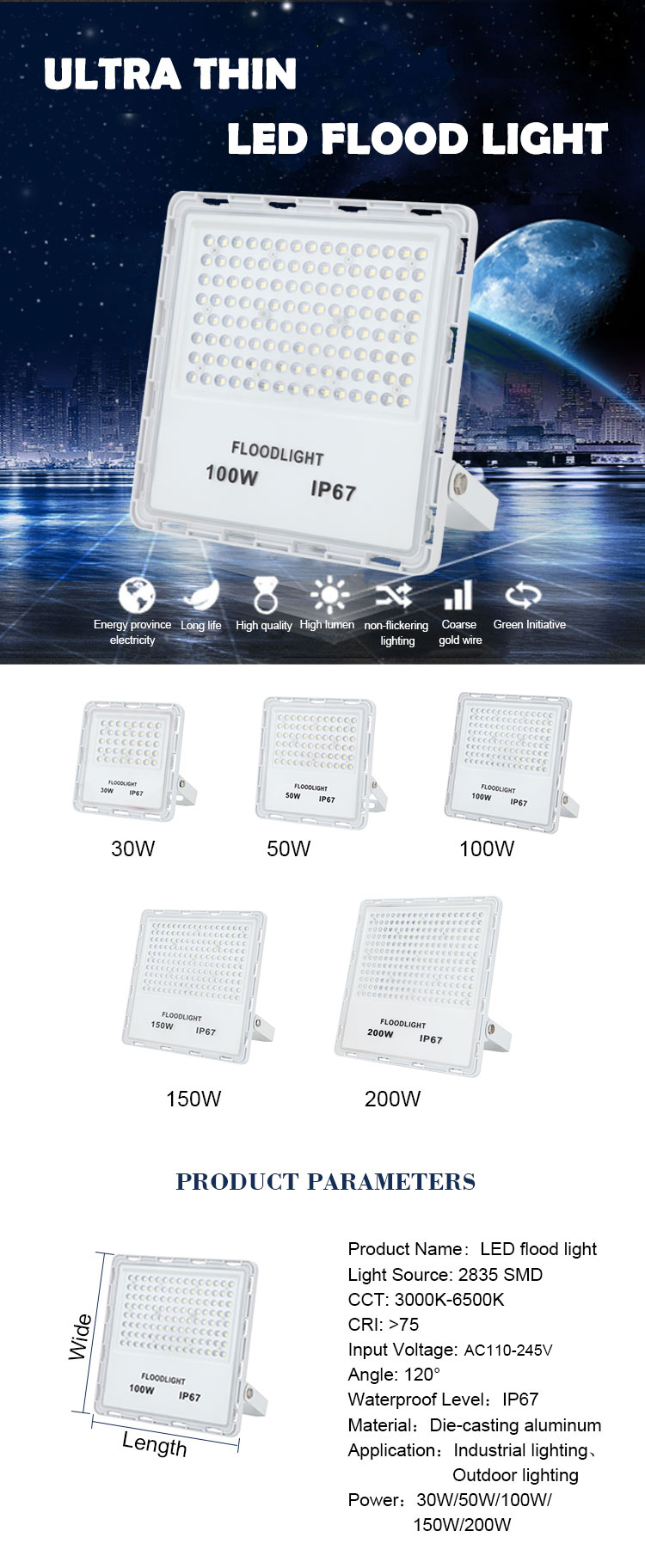 Factory Price Outdoor 200W IP67 Waterproof  30W 50W 100W 150W Led Flood Light