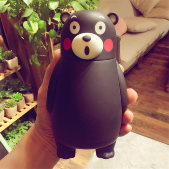Cute Cartoon Glass Thermos Cup Black Bear Lovely Stainless Steel Mug Portable Travel Tumbler Child Cups Christmas Gift