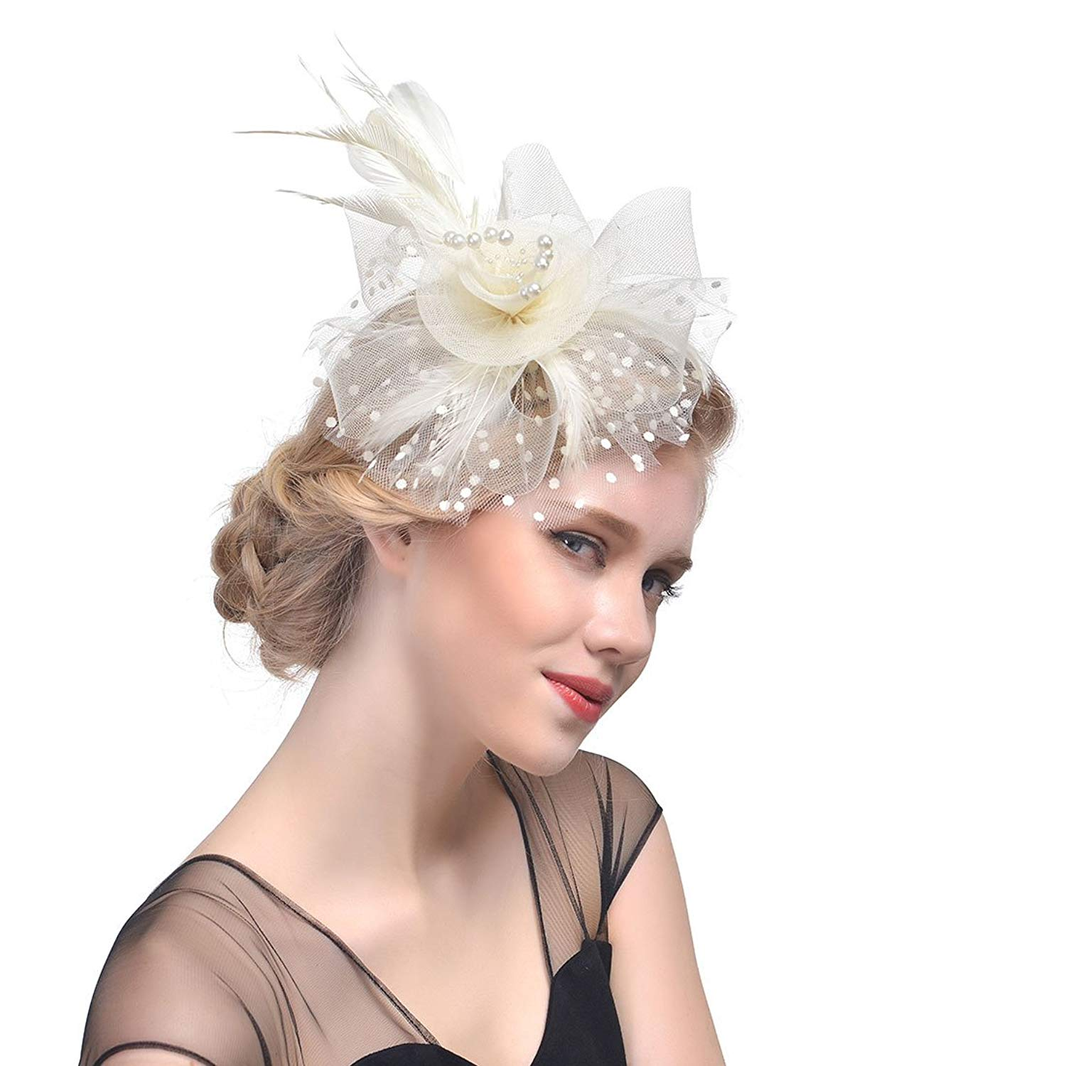 a2057b8fe924 Get Quotations · Lanzom Women Fascinators Hat Flower Feathers Hair Clip  Party Kentucky Derby Wedding Cocktail Headwear
