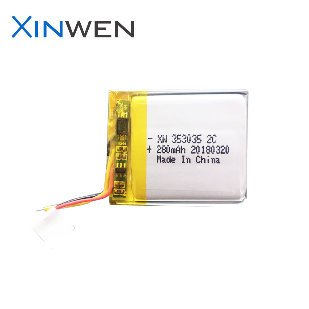 XW 353035 2C 3.7v 280mAh lipo battery for sports test device