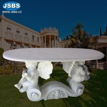 Blanc Ange Statue En Pierre De Marbre Ovale Table A Manger Buy