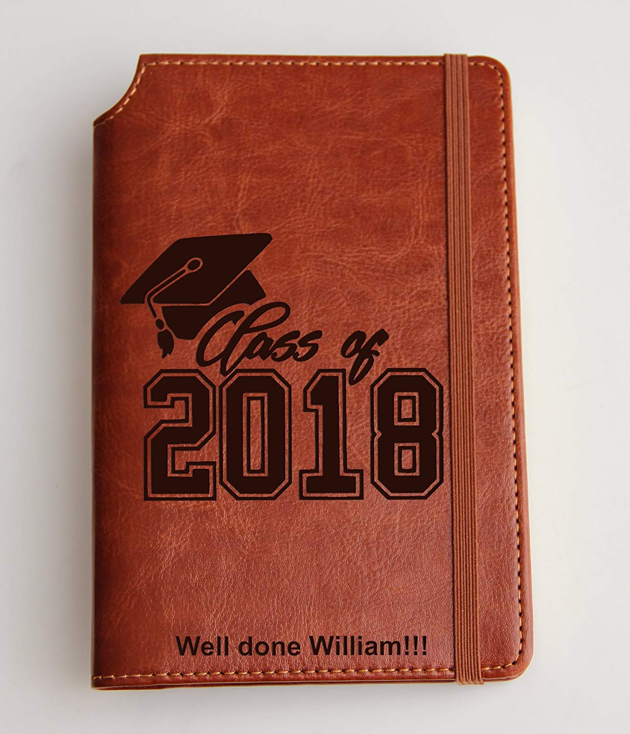 Customizable laser engraved graduation Journal Customizable engraved Journal leather bound, strip with the same color to keep it closed