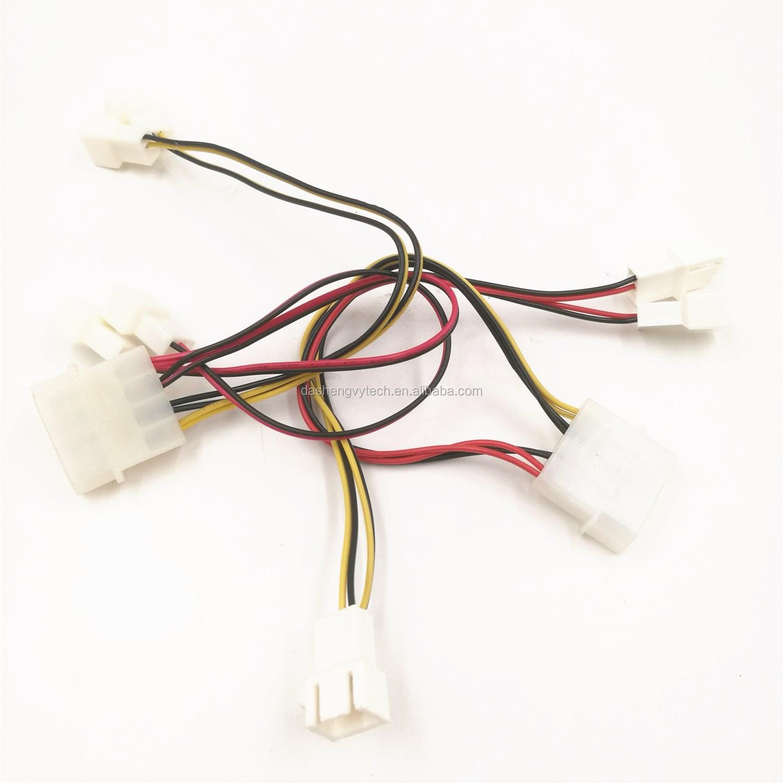 Cabo IDE molex 4pin para 4pin * 4 splitter, computador cabo de alimentação do ventilador