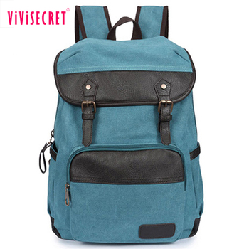 94d786ce5d Europe style blue canvas rucksack trendy book bags customized leather canvas  secret compartment backpack for teenage
