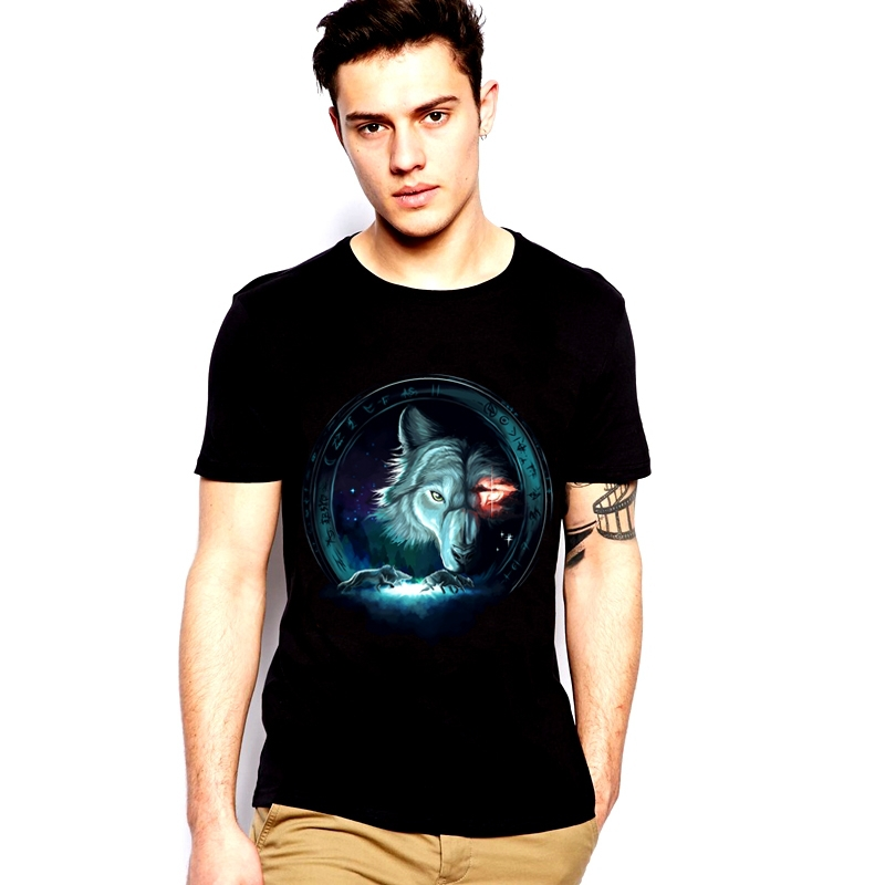 Summer men's individuality creative night elf magic star Wolf Wolf printing tide leisure T-shirt mens t shirts fashion 2015