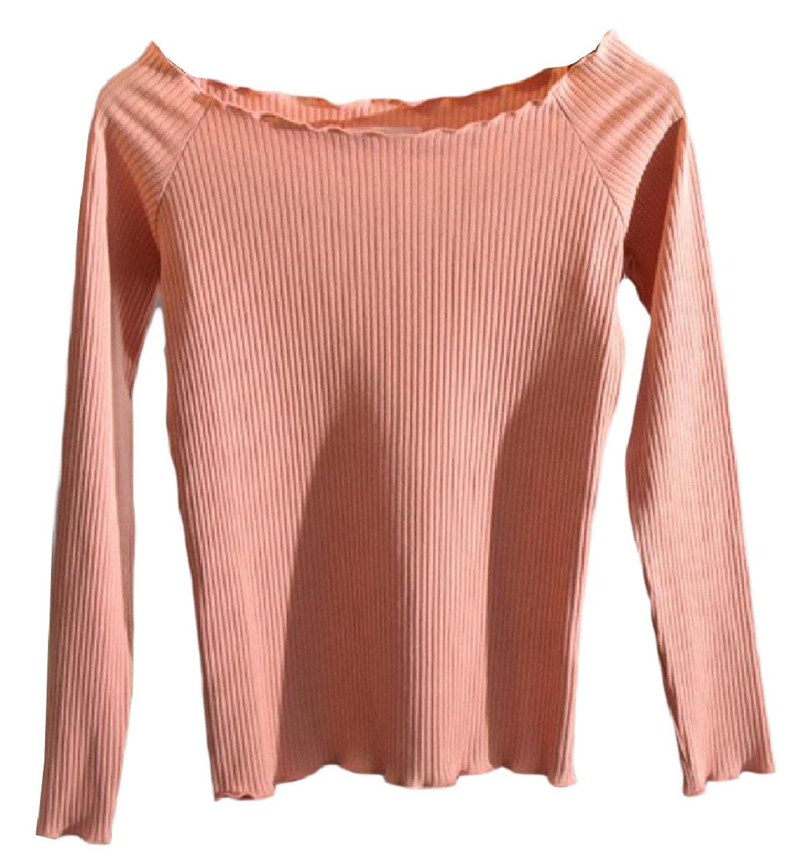 Zimaes-Women Long-Sleeved Knit Short Shoulder Off SolidT Shirt Pullover