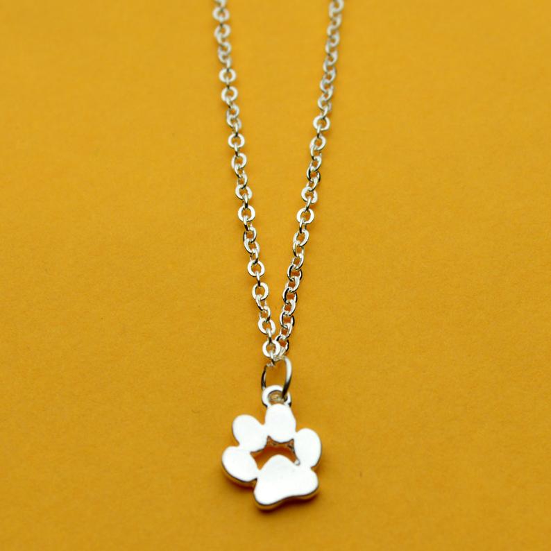 1 шт. кошка собака отпечаток лапы ожерелье животных золото и серебро ожерелье женщины милые нежные себе ожерелье для подарка