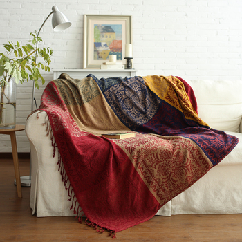 Rawhouse Bohemian Jacquard Chenille Throw Blankets For Sofa Personalized Blanket