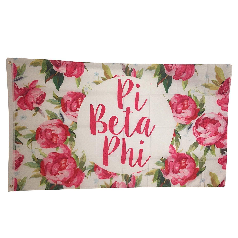 Pi Beta Phi Rose Pattern Letter Sorority Flag Greek Letter Use as a Banner 3 x 5 Feet Pi Phi