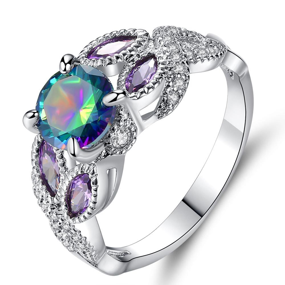 New Fashion Popular Tree Vine shape For Women's Ring luxury Shiny Round Colorful crystal Wedding Ring Gift фото