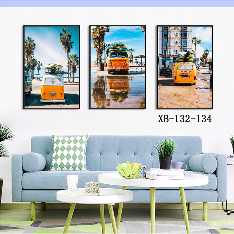 3 Panel Modern Beach Nature Landscape Sea View Tour Bus Wall Art <strong>Picture</strong>