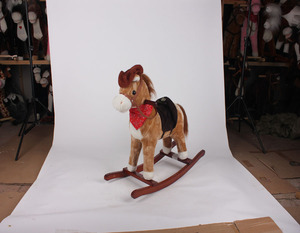 L74*H65*W28cm promotional customized light brown children plush rocking horse toy with cowboy hat&red printed triangle scarf