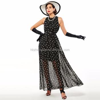 bfc6be6784c Ecoparty моды горошек Макси платье Длинные повседневные летние пляжные  праздничное шифоновое черные платья стиль элегантное платье. Увеличить  изображение