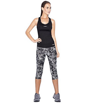 Women Activewear Set Gym Outfit Fitted Top Capris Leggings Neon ... 3a785e82d462
