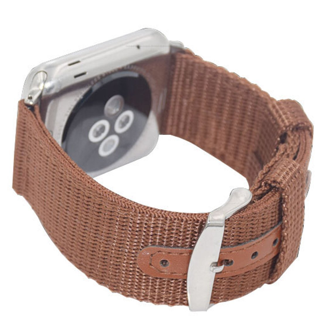 Woven Nylon, iitee[TM] Canvas Fabric Sport Edition Soft Replacement Watch Band Straps for Apple Watch iWatch with Metal Clasp and Connector (38mm brown)