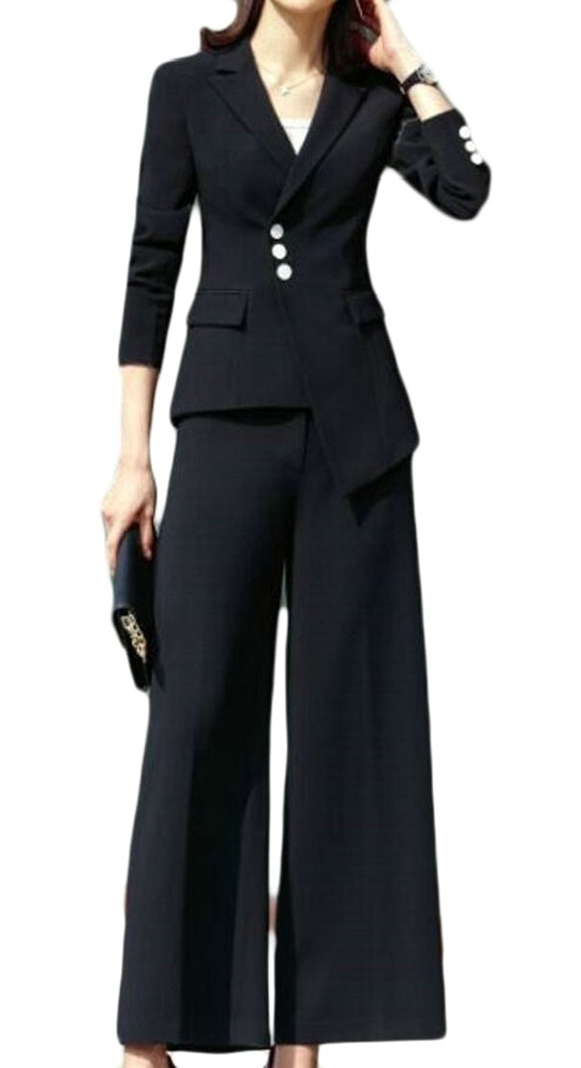 M&S&W Women's Stylish Long-Sleeved Regular Long-Sleeved Outerwear and Two-Piece Suit Jacket