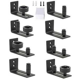 Barn Door Floor Guide Stay Roller - Black Powder Coated Adjustable Wall Mount Guide with 8 Different Setups - Perfect Fit for AL