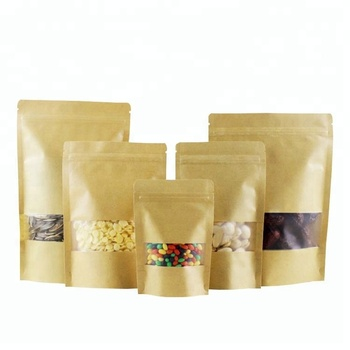 Doypack Resealable Ziplock Brown Kraft Paper Standing Up Pouches Food Grade Packaging Zipper Bags With Frosted Window