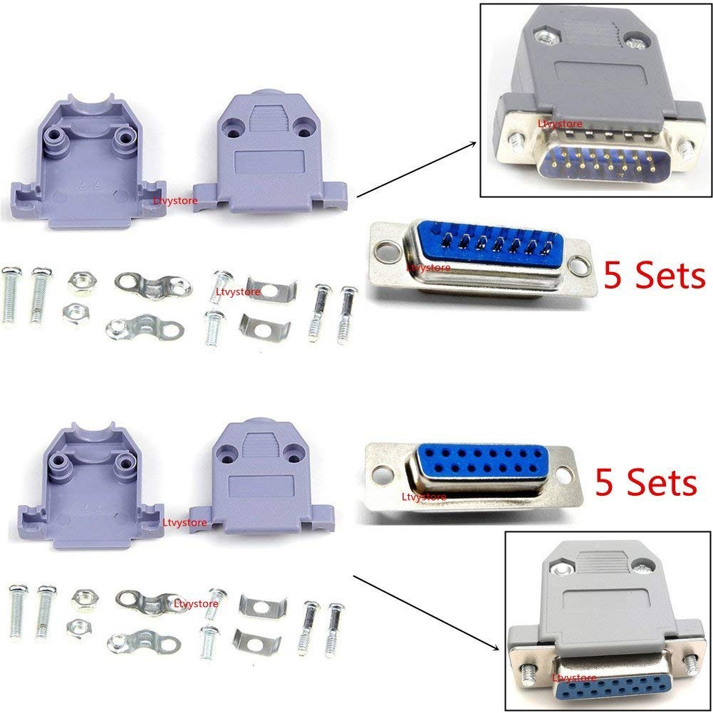 RS232 Parallel Serial Port 2 Rows DB15 15 Pin D Sub Male/Female Solder Connector + Plastic Assemble Shell Cover VAG Adapter, Pack of 10, By Ltvystore