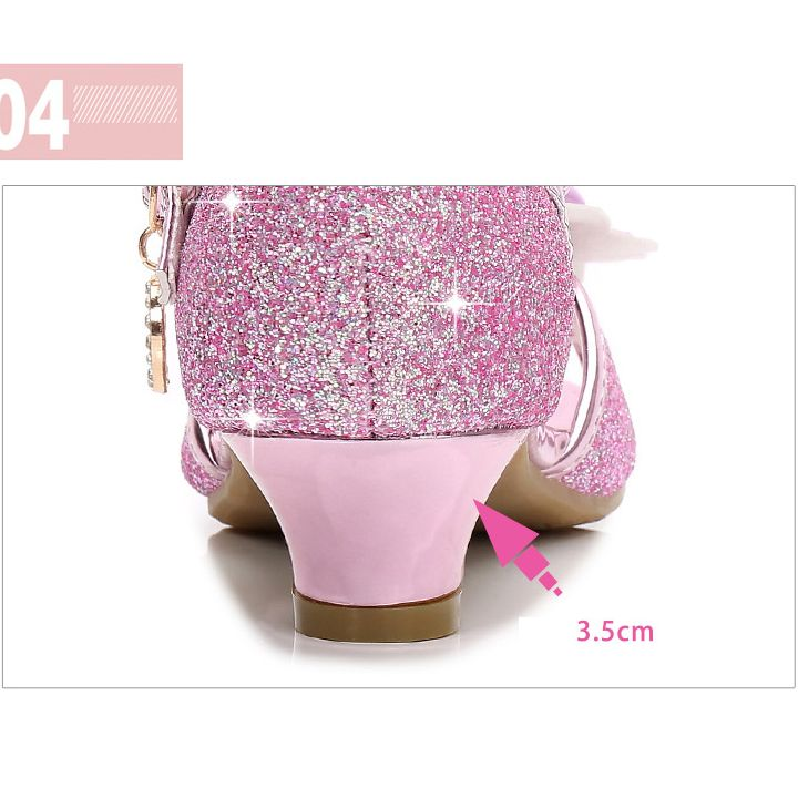 Factory wholesale kids shoes children girls casual high heels wholesale crystal best price