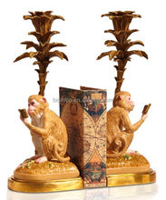 Imitated Golden Monkey Design Book Stand, Antique Animal Statues Porcelain Bookends With Brass Base