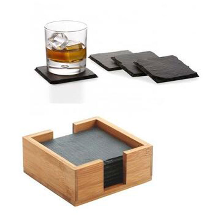 High Quality Drink Black Tea Wholesale Handmade Natural Round Laser Manufacturer Restaurant Supplies Slate Stone Cup Coaster