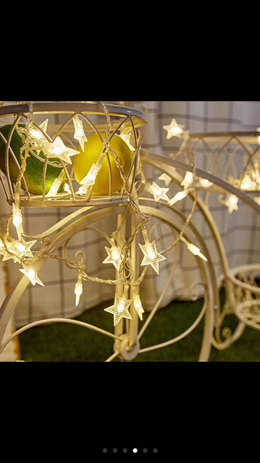 LEITING 10 meters 100 lights five pointed star decoration warm white solar LED outdoor lamp string decorative lamp Pentagram lamp