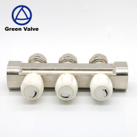 Green valves- chrome plated 1 inch 3 way pex brass manifold for underfloor heating