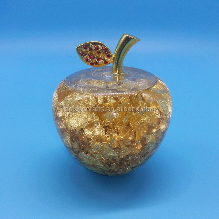 glass home decoration 80*75 mm glass apple with gold leaf