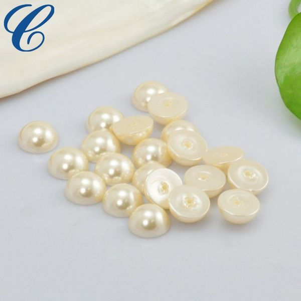 6mm hot fix half round loose white plastic pearl