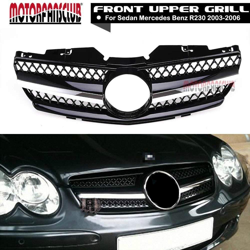 Get Quotations · MotorFansClub Front Grille Black with Chrome Grill for Mercedes  Benz R230 03-06 SL Class