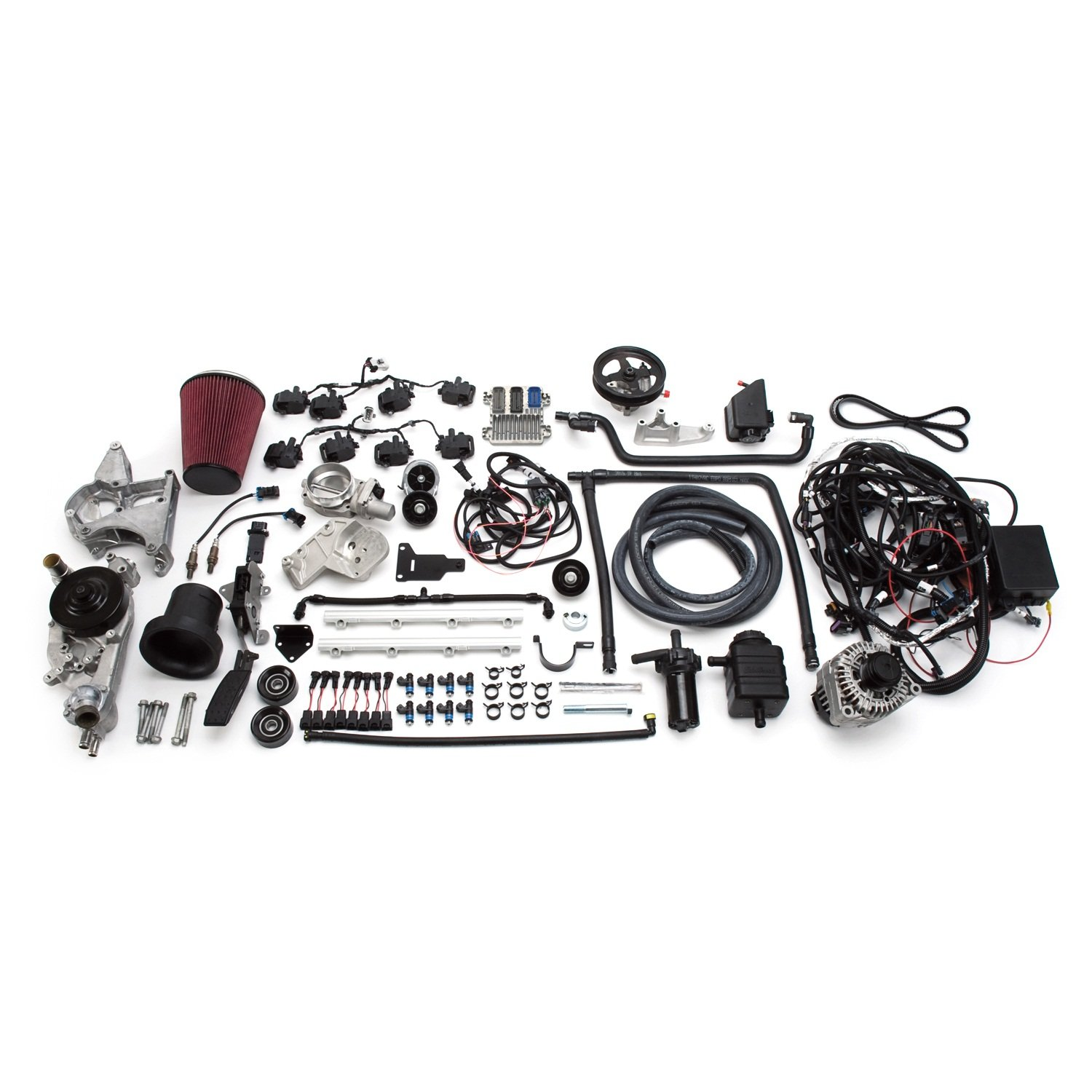 Edelbrock 46760 Supercharged LS 416 Crate Engine and Electronics LongBlock Incl. E-Force Supercharger/Engine Harness/ECU/Elect. Throttle Pedal/Ign. Coils/Heated O2 Sensors/Alternator/WaterPump Supercharged LS 416 Crate Engine and Electronics
