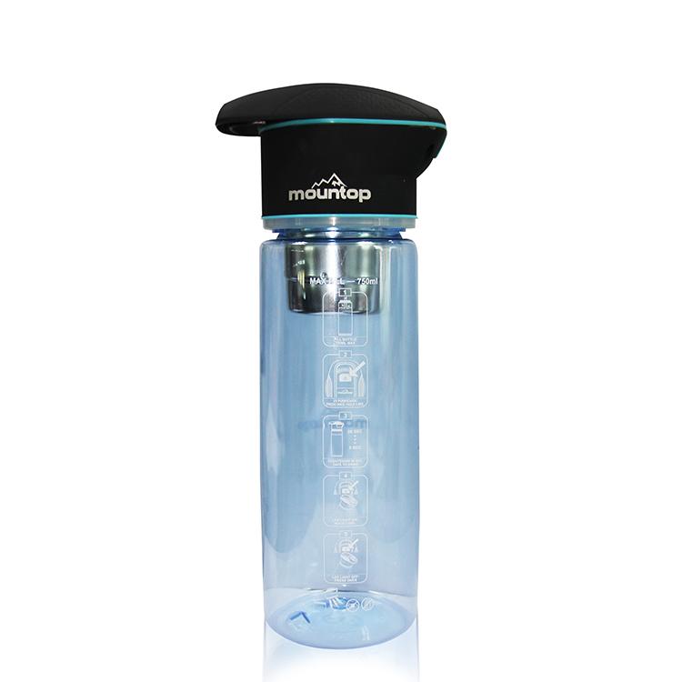 2019 Professional Portable Water Bottle UV Sterilize Cap Sport BottleWiith LED Light, Blue green